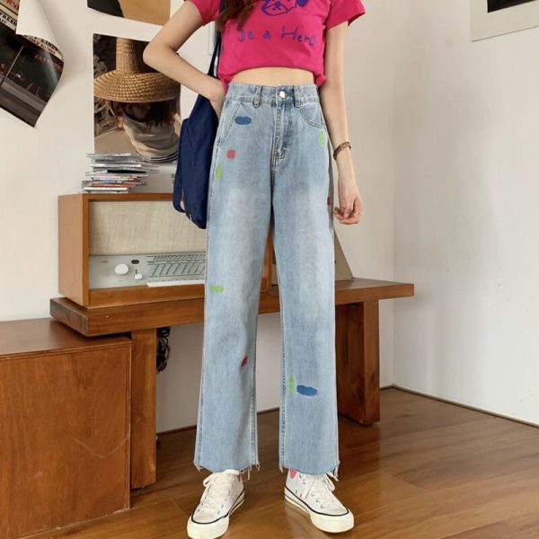Versatile Jeans With Multi-colored Panels And Ankle Slits - My Sweet Outfit - eGirl - SoftGirl Clothes Aesthetic - Goth - Grunge - Vintage Black - Y2k - Harajuku style - Softie 1