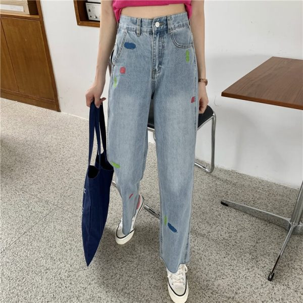 Versatile Jeans With Multi-colored Panels And Ankle Slits - My Sweet Outfit - eGirl - SoftGirl Clothes Aesthetic - Goth - Grunge - Vintage Black - Y2k - Harajuku style - Softie 2