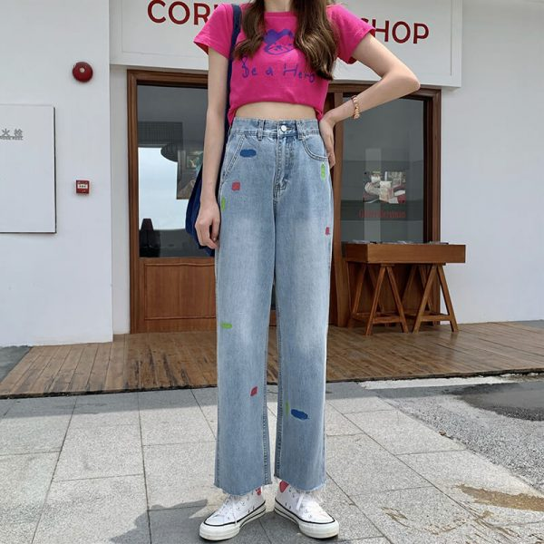 Versatile Jeans With Multi-colored Panels And Ankle Slits - My Sweet Outfit - eGirl - SoftGirl Clothes Aesthetic - Goth - Grunge - Vintage Black - Y2k - Harajuku style - Softie 3
