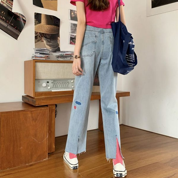 Versatile Jeans With Multi-colored Panels And Ankle Slits - My Sweet Outfit - eGirl - SoftGirl Clothes Aesthetic - Goth - Grunge - Vintage Black - Y2k - Harajuku style - Softie 4