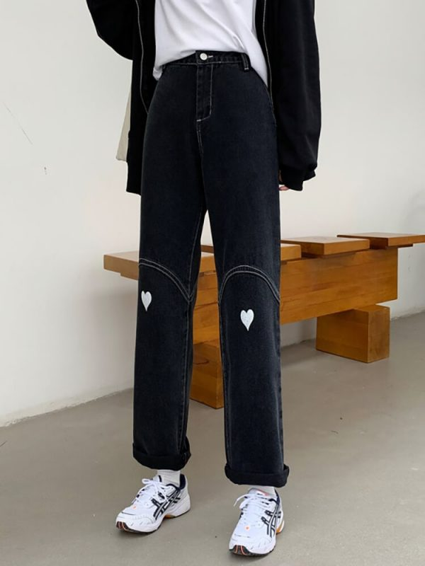 Wide Leg Jeans With Heart-shaped Patches On The Knees - My Sweet Outfit - eGirl - SoftGirl Clothes Aesthetic - Goth - Grunge - Vintage Black - Y2k - Harajuku style - Softie 1