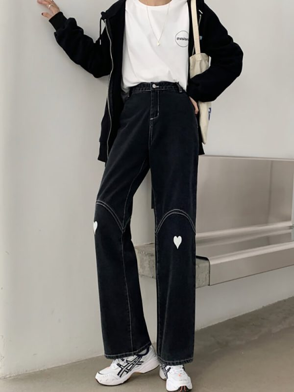 Wide Leg Jeans With Heart-shaped Patches On The Knees - My Sweet Outfit - eGirl - SoftGirl Clothes Aesthetic - Goth - Grunge - Vintage Black - Y2k - Harajuku style - Softie 3