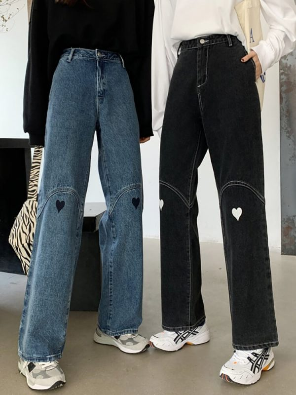 Wide Leg Jeans With Heart-shaped Patches On The Knees - My Sweet Outfit - eGirl - SoftGirl Clothes Aesthetic - Goth - Grunge - Vintage Black - Y2k - Harajuku style - Softie 4