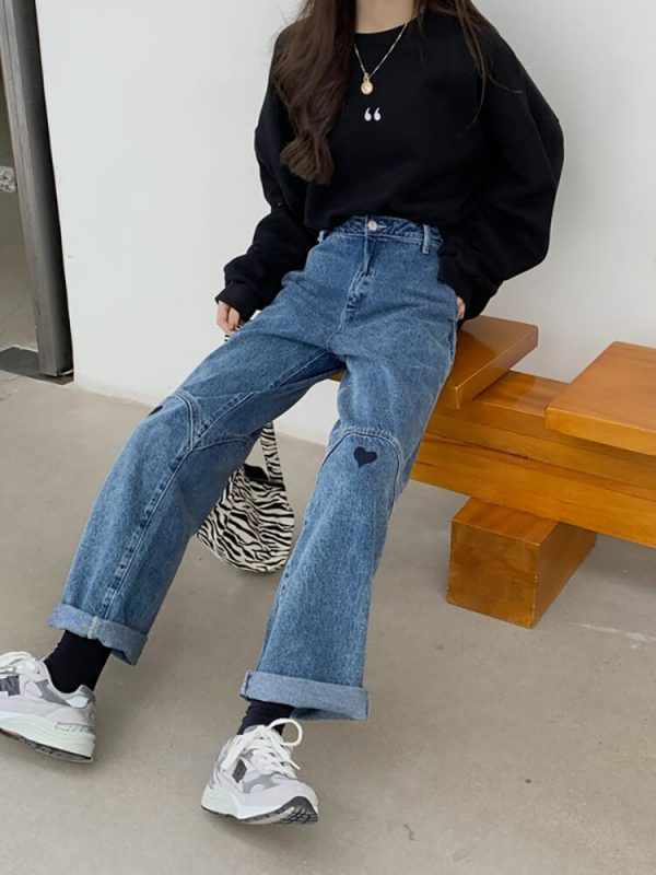 Wide Leg Jeans With Heart-shaped Patches On The Knees - My Sweet Outfit - eGirl - SoftGirl Clothes Aesthetic - Goth - Grunge - Vintage Black - Y2k - Harajuku style - Softie 5