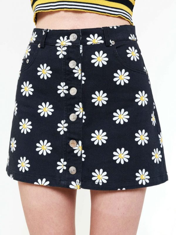 Сamomile Print Detachable A-line Denim Skirt 1 - My Sweet Outfit - eGirl - SoftGirl Clothes Aesthetic - Goth - Grunge - Vintage - Indie Clothing -Cottagecore -Y2k - Harajuku style - Softie