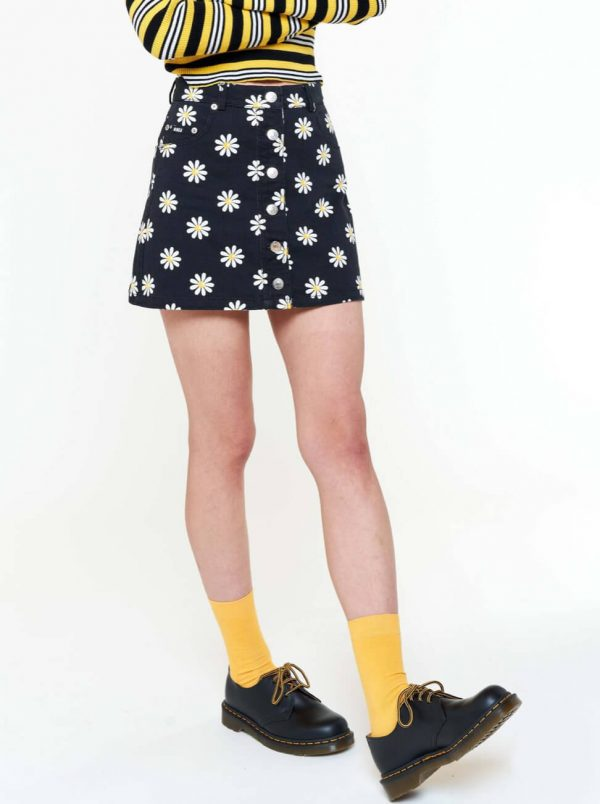 Сamomile Print Detachable A-line Denim Skirt 3 - My Sweet Outfit - eGirl - SoftGirl Clothes Aesthetic - Goth - Grunge - Vintage - Indie Clothing -Cottagecore -Y2k - Harajuku style - Softie