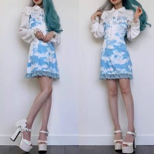 Blue Clouds eGirl Aesthetics Party Dress 1 - My Sweet Outfit - eGirl - SoftGirl Clothes Aesthetic - Goth - Grunge - Vintage - Indie Clothing -Cottagecore -Y2k - Harajuku style - Softie
