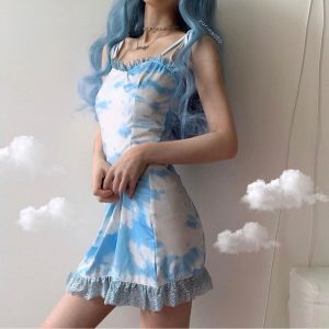 Blue Clouds eGirl Aesthetics Party Dress 2 - My Sweet Outfit - eGirl - SoftGirl Clothes Aesthetic - Goth - Grunge - Vintage - Indie Clothing -Cottagecore -Y2k - Harajuku style - Softie