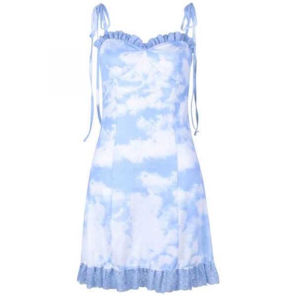 Blue Clouds eGirl Aesthetics Party Dress 3 - My Sweet Outfit - eGirl - SoftGirl Clothes Aesthetic - Goth - Grunge - Vintage - Indie Clothing -Cottagecore -Y2k - Harajuku style - Softie