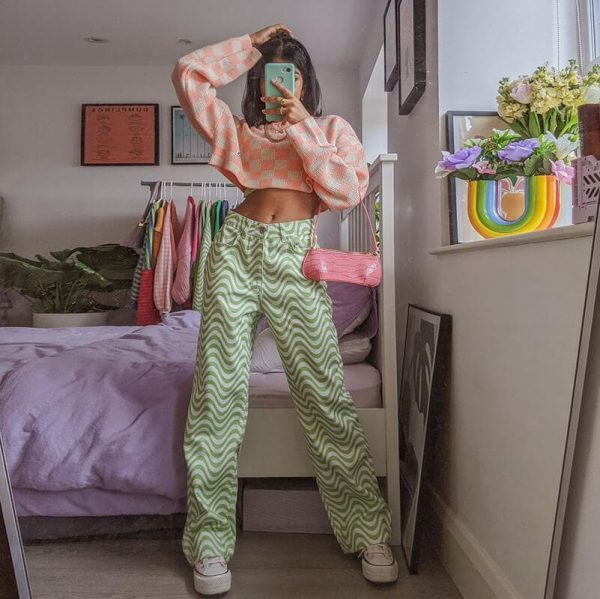 Corrugated Wavy Flex Print Pants 1 - My Sweet Outfit - eGirl - SoftGirl Clothes Aesthetic - Goth - Grunge - Vintage - Indie Clothing - Cottagecore - Y2k - Harajuku style - Softie