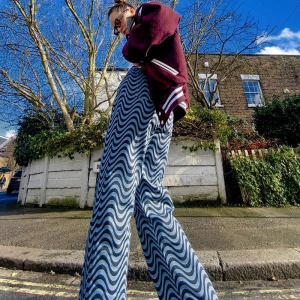 Corrugated Wavy Flex Print Pants 3 - My Sweet Outfit - eGirl - SoftGirl Clothes Aesthetic - Goth - Grunge - Vintage - Indie Clothing - Cottagecore - Y2k - Harajuku style - Softie