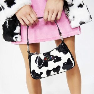 Delias Cow Pattern Shoulder Bag 1 - My Sweet Outfit - eGirl - SoftGirl Clothes Aesthetic - Goth - Grunge - Vintage - Indie Clothing -Cottagecore -Y2k - Harajuku style - Softie