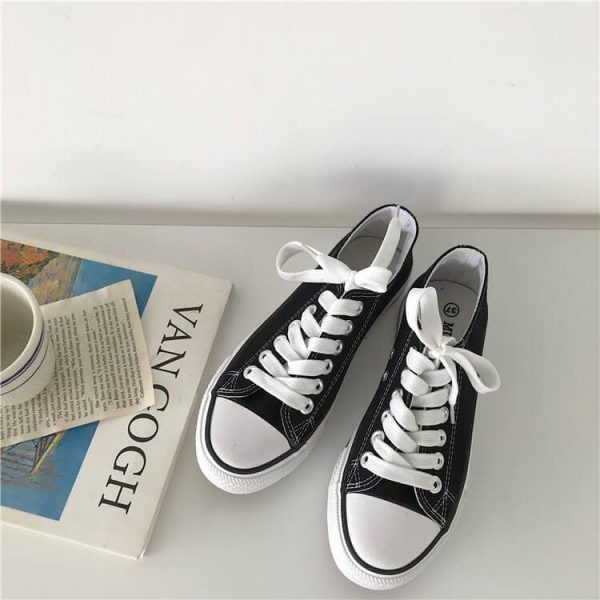 Flat Classic Aesthetic Canvas Sneakers 1 - My Sweet Outfit - eGirl - SoftGirl Clothes Aesthetic - Goth - Grunge - Vintage - Indie Clothing -Cottagecore -Y2k - Harajuku style - Softie