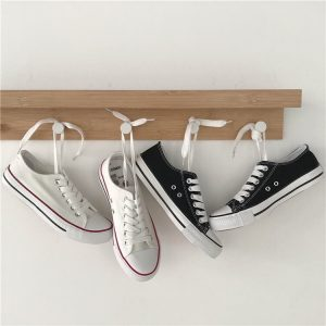 Flat Classic Aesthetic Canvas Sneakers 2 - My Sweet Outfit - eGirl - SoftGirl Clothes Aesthetic - Goth - Grunge - Vintage - Indie Clothing -Cottagecore -Y2k - Harajuku style - Softie