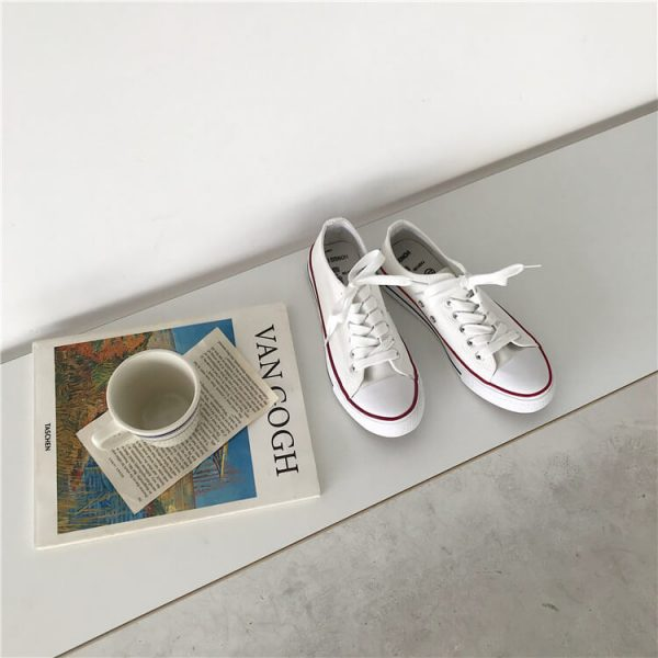 Flat Classic Aesthetic Canvas Sneakers 3 - My Sweet Outfit - eGirl - SoftGirl Clothes Aesthetic - Goth - Grunge - Vintage - Indie Clothing -Cottagecore -Y2k - Harajuku style - Softie