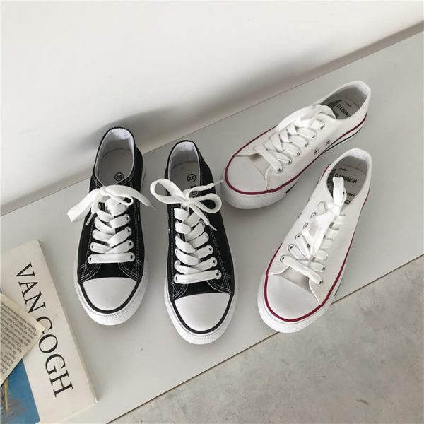 Flat Classic Aesthetic Canvas Sneakers 4 - My Sweet Outfit - eGirl - SoftGirl Clothes Aesthetic - Goth - Grunge - Vintage - Indie Clothing -Cottagecore -Y2k - Harajuku style - Softie