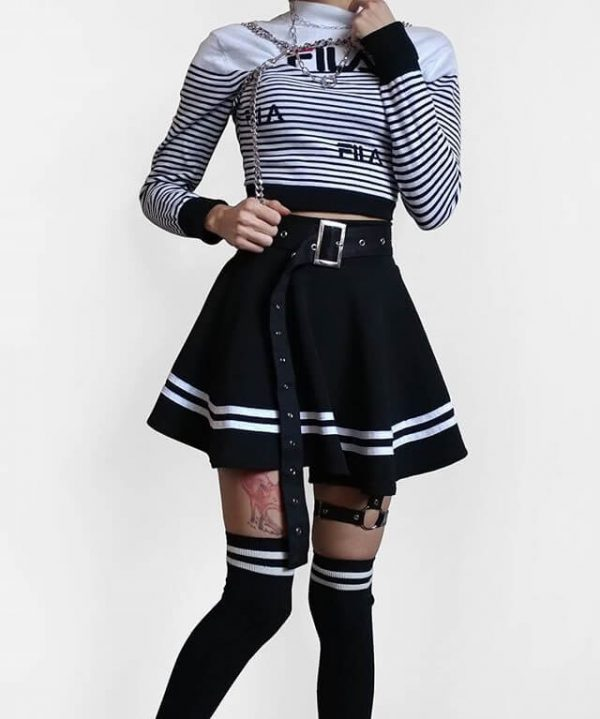 Grunge Aesthetic Pleated Skirt With Stripes 3 - My Sweet Outfit - eGirl - SoftGirl Clothes Aesthetic - Goth - Grunge - Vintage - Indie Clothing -Cottagecore -Y2k - Harajuku style - Softie