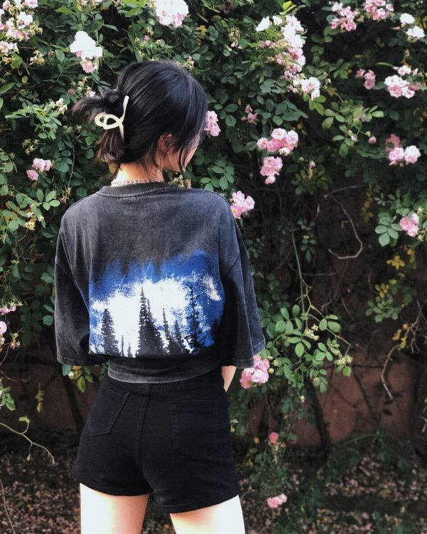 Indie Aesthetic Old Dark T-shirt With Pines Print 1 - My Sweet Outfit - eGirl - SoftGirl Clothes Aesthetic - Goth - Grunge - Vintage - Indie Clothing - Cottagecore - Y2k - Harajuku style - Softie