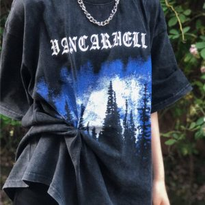 Indie Aesthetic Old Dark T-shirt With Pines Print 2 - My Sweet Outfit - eGirl - SoftGirl Clothes Aesthetic - Goth - Grunge - Vintage - Indie Clothing - Cottagecore - Y2k - Harajuku style - Softie