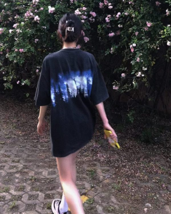 Indie Aesthetic Old Dark T-shirt With Pines Print 4 - My Sweet Outfit - eGirl - SoftGirl Clothes Aesthetic - Goth - Grunge - Vintage - Indie Clothing - Cottagecore - Y2k - Harajuku style - Softie