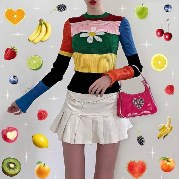 Indie Aesthetics Rainbow Long Sleeve Jumper 2 - My Sweet Outfit – eGirl – SoftGirl Clothes Aesthetic – Goth – Grunge – Vintage – Indie Clothing – Cottagecore – Y2k – Harajuku style – Softie