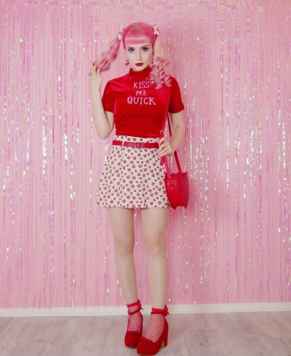 Kiss Me Quick Printing Velvet Crop Top - My Sweet Outfit - eGirl - SoftGirl Clothes Aesthetic - Goth - Grunge - Vintage Black - Y2k - Harajuku style - Softie 3
