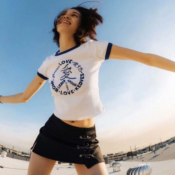 Love Pacific Logo White Piped T-shirt 1 - My Sweet Outfit - eGirl - SoftGirl Clothes Aesthetic - Goth - Grunge - Vintage Black - Y2k - Harajuku style - Softie 4