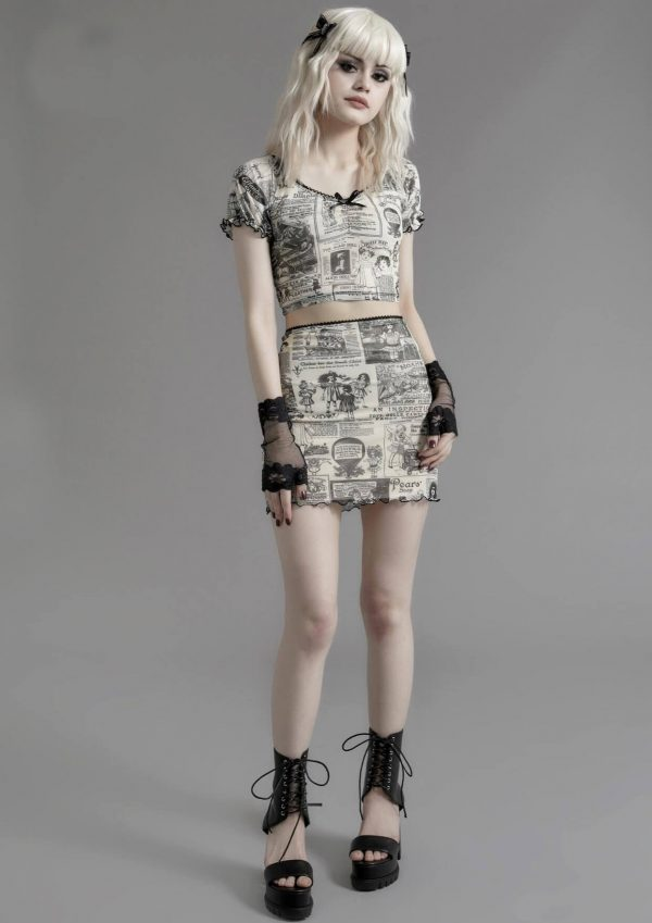Newspaper Print Folded Goth Style Skirt 2 - My Sweet Outfit - eGirl - SoftGirl Clothes Aesthetic - Goth - Grunge - Vintage - Indie Clothing -Cottagecore -Y2k - Harajuku style - Softie