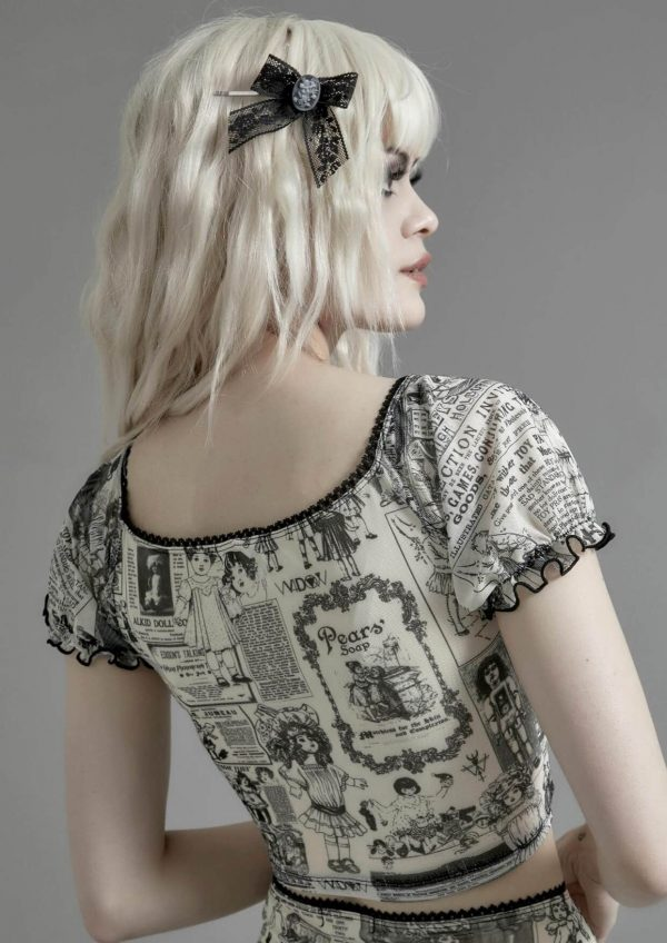 Newspaper Print Wavy Goth Style Top 2 - My Sweet Outfit - eGirl - SoftGirl Clothes Aesthetic - Goth - Grunge - Vintage - Indie Clothing -Cottagecore -Y2k - Harajuku style - Softie