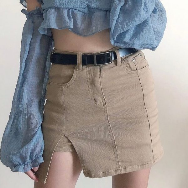 One-tone Distressed Denim Short Skirt 1 - My Sweet Outfit - eGirl - SoftGirl Clothes Aesthetic - Goth - Grunge - Vintage - Indie Clothing - Cottagecore - Y2k - Harajuku style - Softie