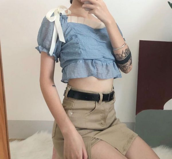One-tone Distressed Denim Short Skirt 3 - My Sweet Outfit - eGirl - SoftGirl Clothes Aesthetic - Goth - Grunge - Vintage - Indie Clothing - Cottagecore - Y2k - Harajuku style - Softie