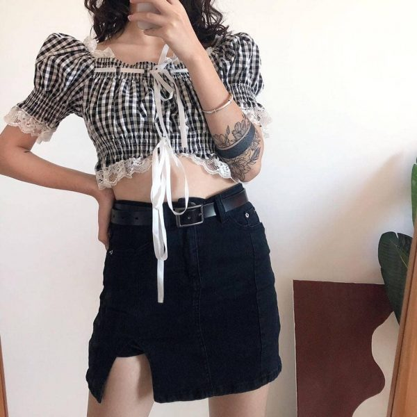 One-tone Distressed Denim Short Skirt 4 - My Sweet Outfit - eGirl - SoftGirl Clothes Aesthetic - Goth - Grunge - Vintage - Indie Clothing - Cottagecore - Y2k - Harajuku style - Softie