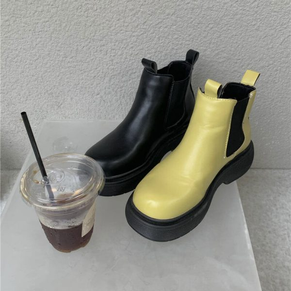 Platform Round Toe Waterproof Ankle Boots 1 - My Sweet Outfit - eGirl - SoftGirl Clothes Aesthetic - Goth - Grunge - Vintage - Indie Clothing - Cottagecore - Y2k - Harajuku style - Softie