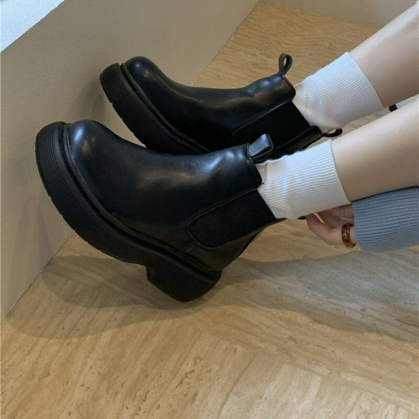 Platform Round Toe Waterproof Ankle Boots 2 - My Sweet Outfit - eGirl - SoftGirl Clothes Aesthetic - Goth - Grunge - Vintage - Indie Clothing - Cottagecore - Y2k - Harajuku style - Softie