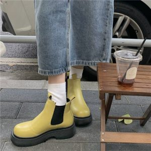 Platform Round Toe Waterproof Ankle Boots 3 - My Sweet Outfit - eGirl - SoftGirl Clothes Aesthetic - Goth - Grunge - Vintage - Indie Clothing - Cottagecore - Y2k - Harajuku style - Softie
