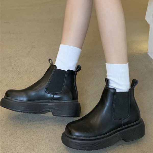 Platform Round Toe Waterproof Ankle Boots 4 - My Sweet Outfit - eGirl - SoftGirl Clothes Aesthetic - Goth - Grunge - Vintage - Indie Clothing - Cottagecore - Y2k - Harajuku style - Softie
