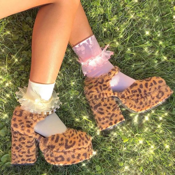 Plush Big Sole Leopard Print Shoes 1 - My Sweet Outfit - eGirl - SoftGirl Clothes Aesthetic - Goth - Grunge - Vintage - Indie Clothing -Cottagecore -Y2k - Harajuku style - Softie
