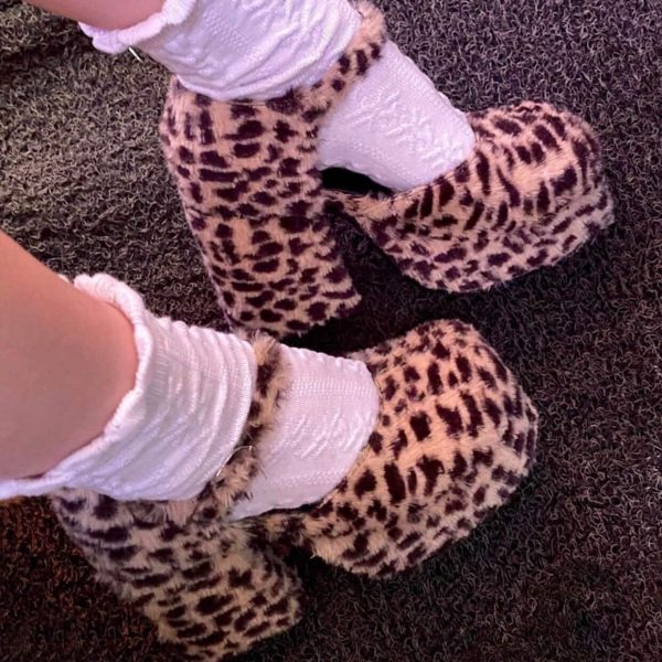Plush Big Sole Leopard Print Shoes 2 - My Sweet Outfit - eGirl - SoftGirl Clothes Aesthetic - Goth - Grunge - Vintage - Indie Clothing -Cottagecore -Y2k - Harajuku style - Softie