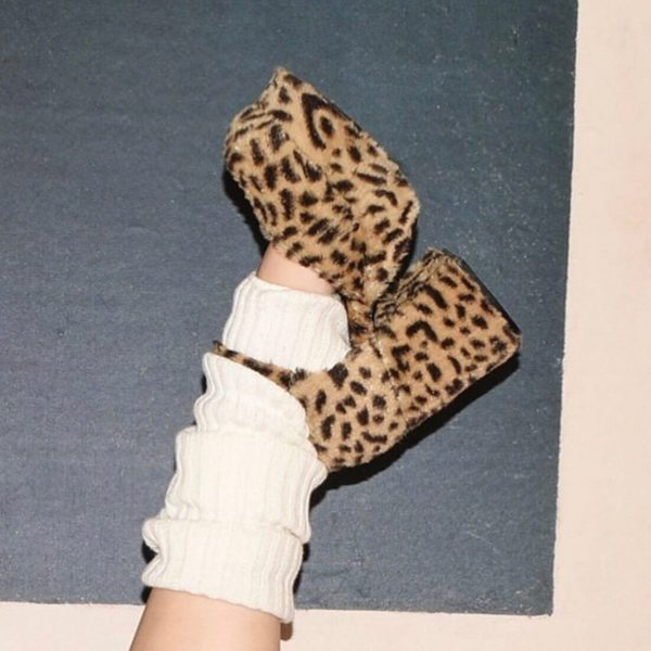 Plush Big Sole Leopard Print Shoes 4 - My Sweet Outfit - eGirl - SoftGirl Clothes Aesthetic - Goth - Grunge - Vintage - Indie Clothing -Cottagecore -Y2k - Harajuku style - Softie