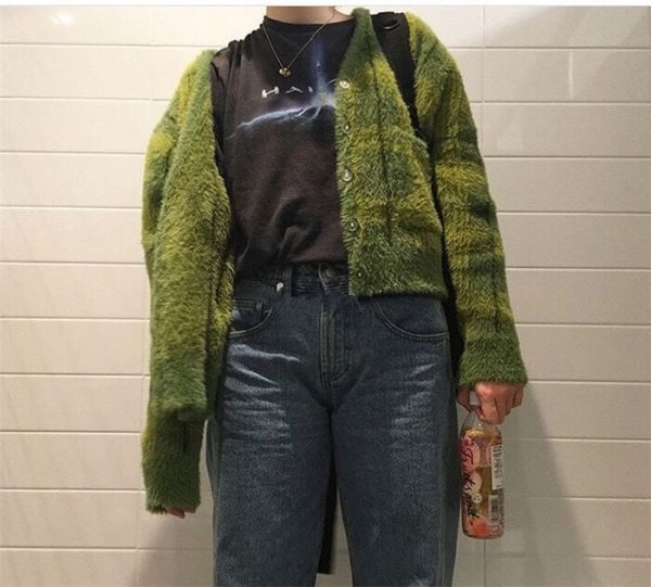Plush Fuzzy Checked Avocado Colored Soft Cardigan 1 - My Sweet Outfit - eGirl - SoftGirl Clothes Aesthetic - Goth - Grunge - Vintage - Indie Clothing -Cottagecore -Y2k - Harajuku style - Softie