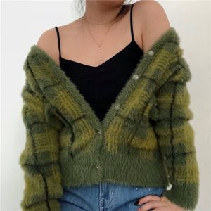 Plush Fuzzy Checked Avocado Colored Soft Cardigan 3 - My Sweet Outfit - eGirl - SoftGirl Clothes Aesthetic - Goth - Grunge - Vintage - Indie Clothing -Cottagecore -Y2k - Harajuku style - Softie