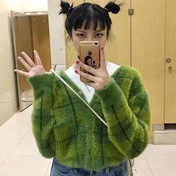 Plush Fuzzy Checked Avocado Colored Soft Cardigan 4 - My Sweet Outfit - eGirl - SoftGirl Clothes Aesthetic - Goth - Grunge - Vintage - Indie Clothing -Cottagecore -Y2k - Harajuku style - Softie