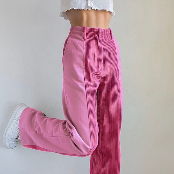 Split Color High-Waist Сorduroy Jeans 1 - My Sweet Outfit - eGirl - SoftGirl Clothes Aesthetic - Goth - Grunge - Vintage - Indie Clothing - Cottagecore - Y2k - Harajuku style - Softie