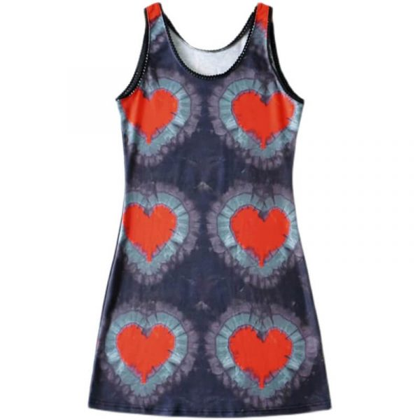 Tie-Dye Heart Pattern Short Sleeveless Y2k Dress 4 - My Sweet Outfit - eGirl - SoftGirl Clothes Aesthetic - Goth - Grunge - Vintage - Indie Clothing -Cottagecore -Y2k - Harajuku style - Softie