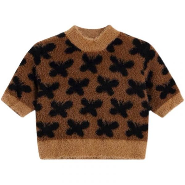 Wool Butterfly Aesthetics Short Furry Sweater 1 - My Sweet Outfit - eGirl - SoftGirl Clothes Aesthetic - Goth - Grunge - Vintage - Indie Clothing -Cottagecore -Y2k - Harajuku style - Softie