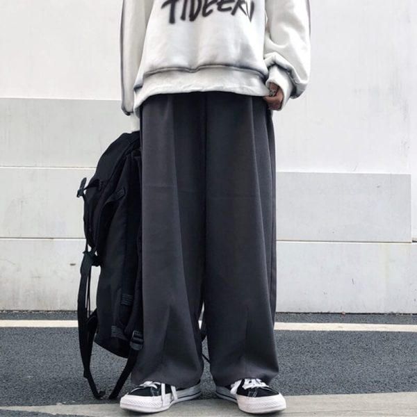 Baggy Y2K Aesthetic Elastic Waist Pants 2 - My Sweet Outfit - eGirl - SoftGirl Clothes Aesthetic - Goth - Grunge - Vintage - Indie Clothing - Cottagecore - Y2k - Harajuku style - Softie