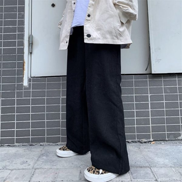Baggy Y2K Aesthetic Elastic Waist Pants 3 - My Sweet Outfit - eGirl - SoftGirl Clothes Aesthetic - Goth - Grunge - Vintage - Indie Clothing - Cottagecore - Y2k - Harajuku style - Softie