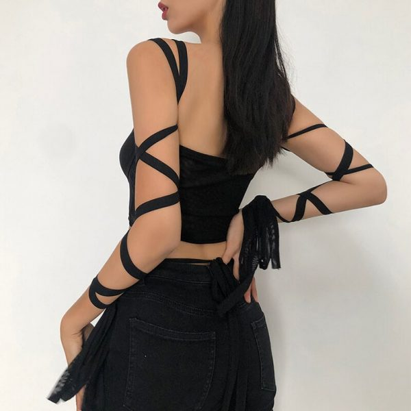 Black Aesthetic Crop Top With Cross Straps on Sleeves 1 - My Sweet Outfit - eGirl - SoftGirl Clothes Aesthetic - Goth - Grunge - Vintage - Indie Clothing - Cottagecore - Y2k - Harajuku style - Softie