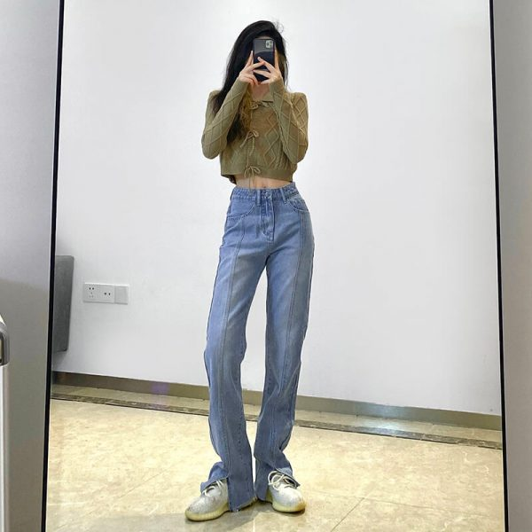 Frayed Split Seam Women Blue Jeans 2 - My Sweet Outfit - eGirl - SoftGirl Clothes Aesthetic - Goth - Grunge - Vintage - Indie Clothing - Cottagecore - Y2k - Harajuku style - Softie
