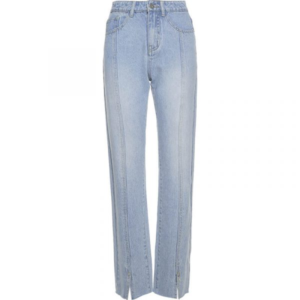 Frayed Split Seam Women Blue Jeans 3 - My Sweet Outfit - eGirl - SoftGirl Clothes Aesthetic - Goth - Grunge - Vintage - Indie Clothing - Cottagecore - Y2k - Harajuku style - Softie